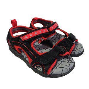 Spiderman Black & Read Velcro Sandals 7
